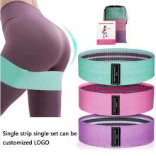 Wholesale Fabric +Latex Resistance Band 3PCS Hip Circle Band with Mesh Bag