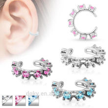 Non-Piercing Ear Cuff CZ Gem Rimmed Rhodium-Plated Brass body jewelry 3 Color Options
