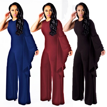 Solide One S Shoulder Langarm Jumpsuits mit weitem Bein