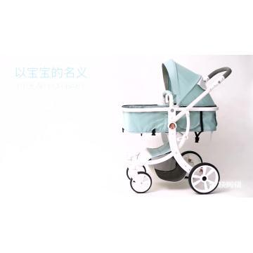 Carrinho de bebê / carrinho de bebê com tubo de alumínio dourado de alta qualidade e toldo de desmontagem com zíper