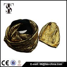 Moda bling bling bronceado sombrero y bufanda de impresión