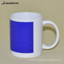 11oz Sublimation White Mug With Blue Patch Color Changing Sunmeta in yiwu