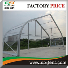 Big aluminum frame clear pvc shelter curved tent 25x30m on sale
