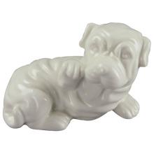 Animal en forma de artesanía de cerámica, perro con esmalte blanco
