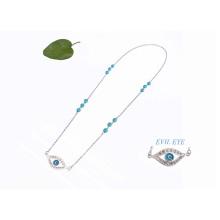Collar de plata del mal de ojo, collar largo del colgante del ojo malvado de la turquesa del Rhinestone