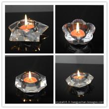 Nouveau design Crystal Tea Light Candle décoration de la maison cristal bougeoir