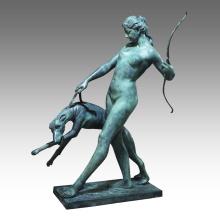 Large Figure Bronze Garden Sculpture Dog Girl Decor Brass Statue Tpls-025