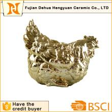 Покрытие Золотой керамический петух Форма монет Банка для домашнего украшения