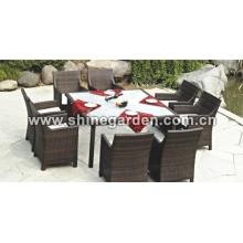 Outdoor Patio Furniture-9 Stück Wicker Dining Set mit Kissen-Clear Glass top
