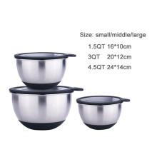 Kitchen silicone salad cake metal mixing bowl set