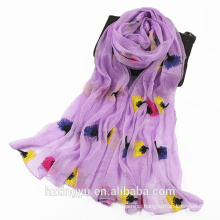 New arrival muslim item factory Fancy floral hijab embroidered scarf