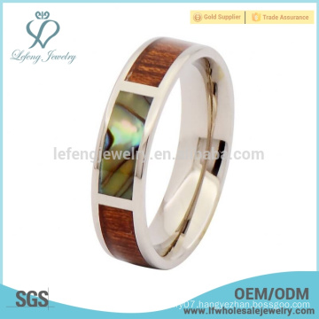 Silver abalone shell titanium jewelry rings jewelry,wooden inlay wedding bands ring