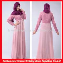 HB0214 New arrival elegant floor length lace bodice baby pink long sleeve cheap long chiffon muslim long dress