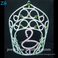 Swan Pink Pageant Tiara Crown With Green Diamond Beauty Pageant Crowns