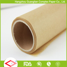 Rollo de papel para hornear tratado de silicona crudo marrón personalizado de fábrica