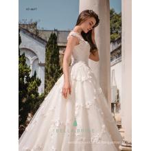 Heavy Spitze appliqued Aschenputtel Brautkleid sexy Brautkleid Braut Ballkleid mit Kathedrale Zug