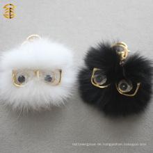Schwarz-Weiß Lustige Fox Pelz Ball Pom Pom mit Augen Gläser Pelz Keychan Tasche Charm