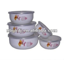enamel bowl sets with PP lid