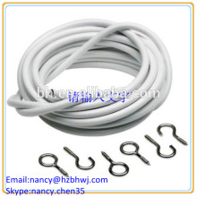 Net Curtain Wire White Window Cord Cable With HOOKS & EYES