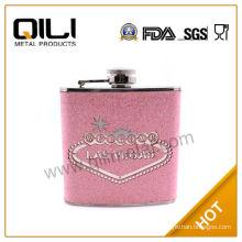 BPA Free 6 ounce Glitter PU designer hip flasks