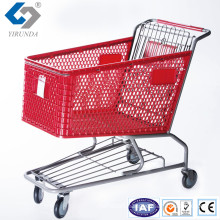 Hot Sale Red Plastic Shopping Trolleys with Metal Frame