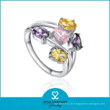 Mode Multi-Color CZ Silber Kostüm Schmuck Ring (SH-R0224)