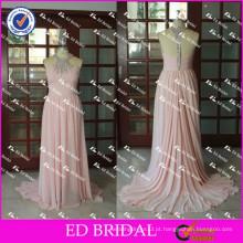 ED Bridal Elegante e Sexy Beaded Halter A Line Backless Long Peach Chiffon Evening Dress 2017