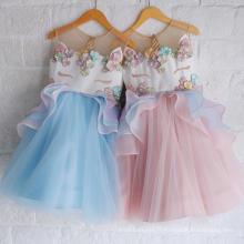 2108 vente chaude bouffi broderie princesse robe mode enfants parti porter été r licorne bébé fille robe en gros
