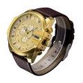 Чехол 6839gold Ипг позолоченный большой Циферблат спортивные часы 3eyes Толкатели, Многофункциональный Кварцевые спортивные часы для мужчин