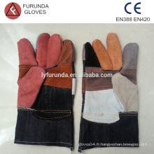 Cuir fissuré et gants de travail en jean avec une paume renforcée, 10,5 pouces