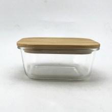 Квадратный стеклянный пищевой контейнер с бамбуковой крышкой