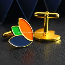 Botão de punho de homem banhado a ouro com logotipo próprio personalizado