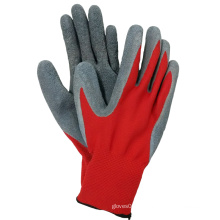 Gants de latex revêtus de polyester rouge Gant de travail à main de sécurité