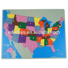 Montessori Geography new USA puzzle map brain teaser wooden puzzle