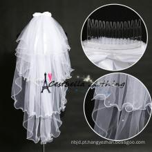 Chic nupcial veils com bow-knot branco casamento nupcial flor headband veils