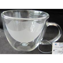 Copo de vidro borosilicato de parede dupla para o jantar (COBERTURA INTERNA FROSTANTE) *