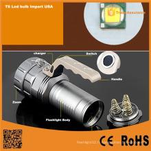 Aluminium T6 LED Rechargeable puissante torche de lampe de poche