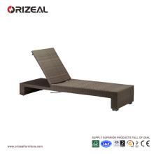 Chaise longue de plage en rotin extérieur réglable OZ-OR059
