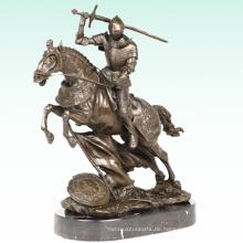 Mittelalterliche Ritter Metall Deco Soldat Bronze Skulptur Statue Tpy-454