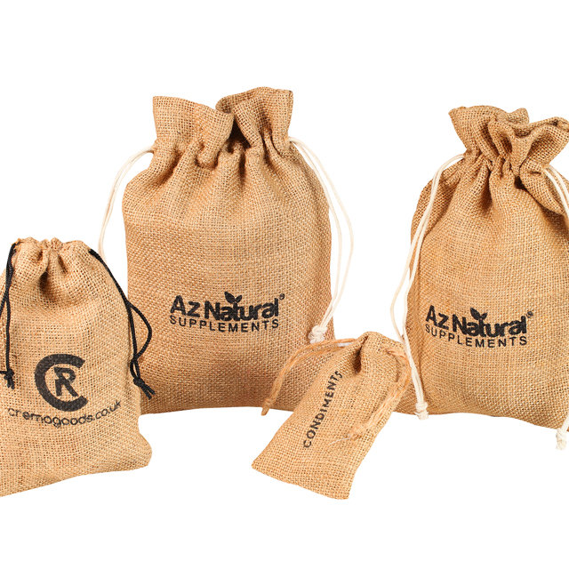 Factory custom logo jute drawstring bag