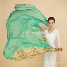 lenço chiffon de seda longo das mulheres impresso em tecido de seda