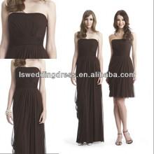 HC2289 Brown strapless sleeveless gathered chiffon A-line asymmetrical hem zipper back cheap removable skirt prom dresses