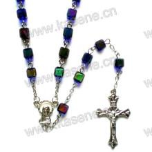 Perlen katholischen Rosenkranz Kette, Rosenkranz Schmuck, religiösen Silber Glas Rosenkranz