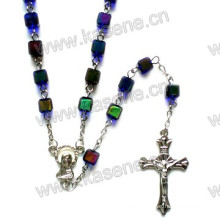 Beads Catholic Rosary Chain, Rosary Jewelry, Religious Silver Glass Rosary