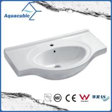 Lavatório de lavagem de mãos de lavatório de cerâmica com banheiro semi-embutido (ACB4491)