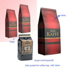 Saco de Kaffe de SISEL / saco de Kaffe de alumínio com válvula / saco de café 500g feito sob encomenda