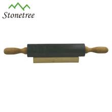 Neuer natürlicher schwarzer Granit-Nudelholz mit Holzgriff