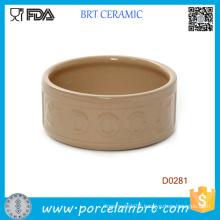 Round Shape Portable Chinese Handamde Ceramic Dog Bowl