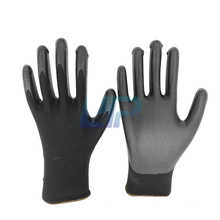 Qingdao Gloves Factory Wholesale Price Oil & Gas Resistant 13G Black Polyester Shell Black Nitrile Rubber Hand Gloves