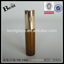 3/5/7/8/10/12ml plain roll on bottles with steel roller, glass essential oil bottle with cap, amber tube glass bottle supplier